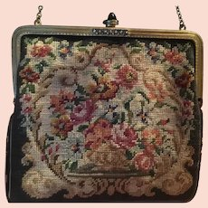 Rhinestone Frame, Onyx Clasp, Petit Point Needlepoint Small Floral Purse Handbag , Austria