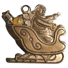 Vintage Sterling Silver Christmas Charm Santa Sleigh Full of Toys