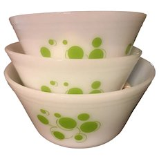 3 Lime Green Atomic Dots Mixing Bowls Federal Glass