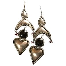 Bold and Funky Sterling Silver Long Shoulder Duster Pierced Earrings Hearts, Onyx