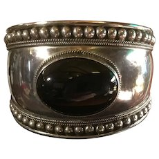 Wide Mexico Sterling Silver Large Black Onyx Beaded Cuff Bracelet