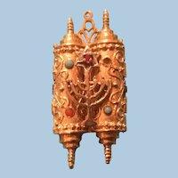 Ornate Hebrew 14 Karat Gold Torah Scrolls Articulated Charm, Pendant, Menorah, Star of David
