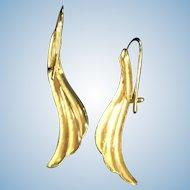 14K Karat Yellow Gold Feather Earrings Lever Back