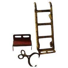 Metal Dollhouse Tools Mechanical Dolly, Bench, Ice Tongs Primitive