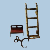 Primitive Chippy Paint Mechanical Metal Dolly, Bench and Ice Tongs for Dollhouse