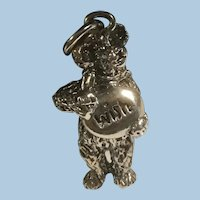 Textured Sterling Silver Figural Teddy Bear Wish Charm