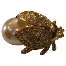 Vintage Napier Figural Rhinestone Faux Pearl Jelly Belly Bee or Beetle Pin Brooch