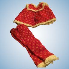 1963 Tagged Skipper Bright Red Calico Flannel and Yellow Fringe Pajamas Mattel