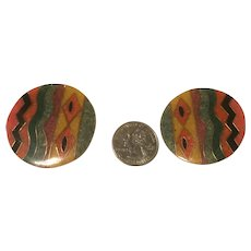 Large Tribal Button Lucite Clip On Earrings with Geometric Designs Fall Colors