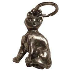 Miss Priss Sitting Cat Charm Sterling Silver Feline