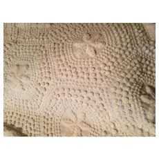 Mid Century Creamy Flower Design Chenille Bedspread Double / Regular Bed