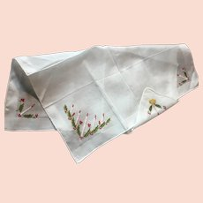 Crisp White Christmas Hankie Handkerchief Embroidered in Switzerland, Foil Tag,  Candles, Holly Berries, Leaves