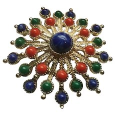 Gorgeous Faux Gem Colors Sarah Coventry Dimensional Brooch
