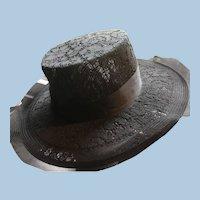 Vintage Wide Brim Black Lace Hat, Veil Like Ribbon, Grosgrain Ribbon and Velvet Trim