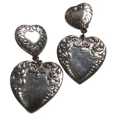 Taxco Mexico Large Repousse Double Heart Sterling Silver Dangle Clip Earrings
