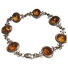 Sterling Silver Honey Amber Cabochon Bracelet Modified Fleur de Lis LInks