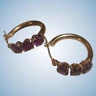 Petite Size 10 K Triple Amethyst Gemstones Hoop Earrings 10 Karat