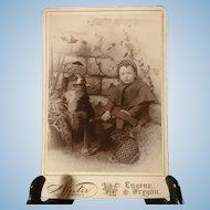 Excellent Antique Photo Cabinet Card Dog and Child Eugene, Oregon