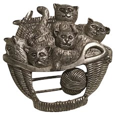 Cats in a Knitting Yarn Basket Mechanical Pin / Brooch Signed 1995 B. G.