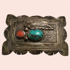 Large Navajo Roy Vandiver Sterling Silver, Turquoise, Coral, Leaf Native American Belt Buckle