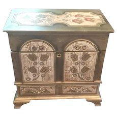 Decorative Florentine Chest, Jewelry Box, Trunk, Gold Gesso Wooden with Key For Fashion Doll