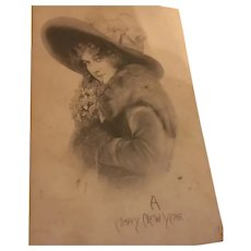 1912 Tinted Real Photo Postcard Pretty Lady, Furs, Hat, Flower Corsage, Happy New Year