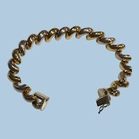Gold Vermeil and Sterling Silver Macaroni Link San Marco Bracelet Italy