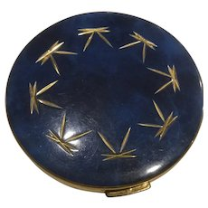 Lovely Blue and Gold Enameled Lady's Compact Inside Screen