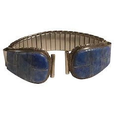 Native American Denim Lapis or Sodalite with Sterling Silver Inlay Inlaid Watch Band