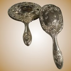 Great Estate Silver Plate Repousse Hand Mirror and Brush Roses and More