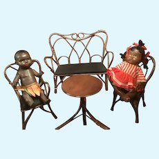 Antique Victorian Wooden Wicker Bamboo Wrapped Twig Furniture for Your Favorite Dolls 4 Pieces
