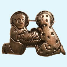 Tiny Sterling Silver Pin for You or Your Doll Mary, Joseph, Jesus in Manger.