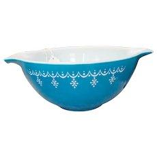 Pyrex Cinderella 1 1/2 Quart Blue with White Snowflake or Garland Mixing Bowl