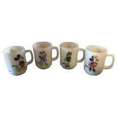 4 Pepsi Anchor Hocking Mugs Mickey and Minnie Mouse Daisy and Donald Duck