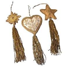 3 Gorgeous Ornate Puffy Christmas Ornaments Fur, Sequins, Braided Ribbon, Felt, Silk