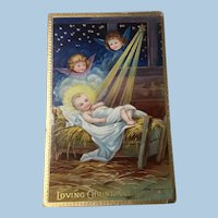 1909 German Christmas Embossed Gel Postcard Gold Gilt Christ Child and Cherubs
