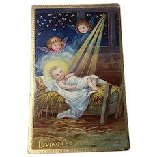 1909 German Christmas Embossed Gel Postcard Gold Gilt Christ Child and Cherubs