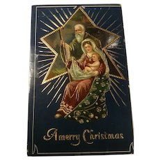 German Gold Gilt Antique Gel Christmas Postcard Holy Family Joseph, Mary, Baby Jesus