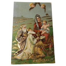 Early German Gilt Gel Christmas Postcard Wise Men Bearing Gifts Mary, Jesus, Angels