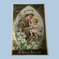 German Easter Postcard Christ Child Saint Anthony of Padua Gold Gilt