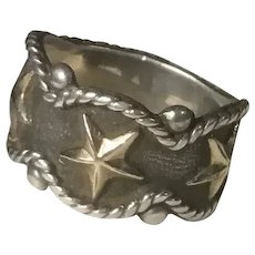 Vogt Sterling Silver 14K Gold Fill Stars Ring Braid and Bead Western Wear