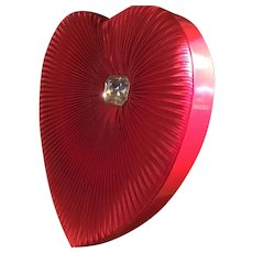 Large Beautiful Vintage Silky Tufted, Pleated Valentine Candy Box Lucite Decoration Russell Stover