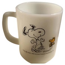 Anchor Hocking Fire King Snoopy With Woodstock Mug At Times, Life is Pure Joy