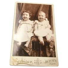 Dubuque Iowa Cabinet Card Photo Two Happpy Babies, Sisters