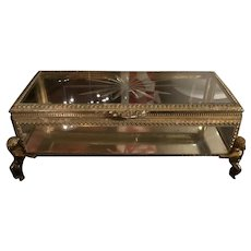 Long Rectangular Gold Ormolu Cherub Legs Starburst Lid Beveled Glass Jewelry Casket