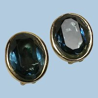 Vintage Large Christian Dior Faceted Blue Stone Clip On Earrings