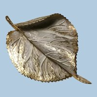Large Hobe White Washed and Gold Enameled Blowing Leaf Brooch High Relief