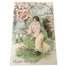 Early Embossed Easter Postcard, Large Dog, Gold Gilt, Lady and Child Printed in Germany
