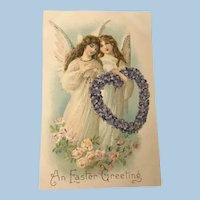 Unused Early Embossed German Easter Postcard with Angels, Roses and Heart of Violets