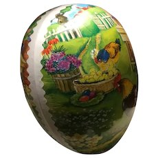 Germany Vintage Paper Mache Easter Egg Candy Container Rooster, Hens, Chicks, Flowers